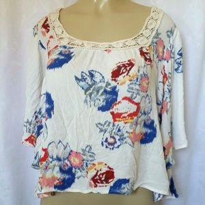 Love Stitch Boho Blouse Top Tunic Floral Embroider